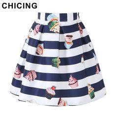 CHICING Cartoon Lolita Cupcake Striped Print Mini Skirts Womens 2016 Summer High Waist Ball Gown Pleated Girls Saia A1605034