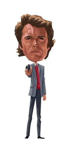 Clint: Dirty Harry by Mitch Frey, via Behance Clint Eastwood, Eastwood Movies, Sudden Impact, Deadpool, Pop Culture, Magnum Force, Caricatures, Film, Illustration