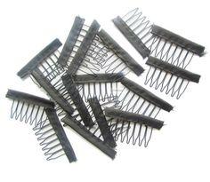30 unids de alambre de color Negro peluca peines clips de plástico conveniente para el pelo pelucas llenas del cordón cap accesorios herramientas de peinado
