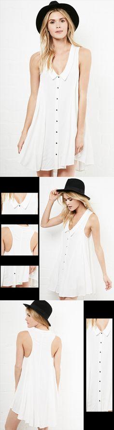 White Sleeveless Lapel Trapeze Dress