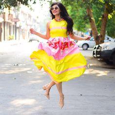 Masaba Gupta Candy print flounce dress.