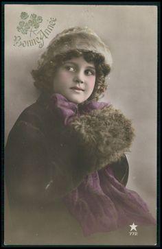 Beautiful Edwardian Child Girl Winter fantasy vintage old 1910s photo postcard