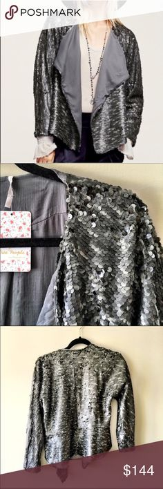 Free People Sequin Blazer Drape Jacket NWT. Free People sequin jacket with a drippy silhouette and drapery, uneven hem.  Matte finish and all over texture for a cool, day-to-night look.  Fully lined.  97% polyester, 3% spandex.  No modeling/trades! Free People Jackets & Coats