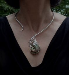 Opal Ammonite Statement Necklace with pearl by DeborahLaun on Etsy