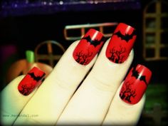 Red with bats #nails #mani #manicure