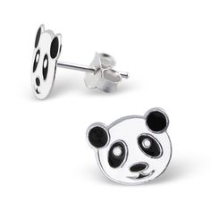 Cuddely Children's Panda Bear Earrings in Black and White Enamel over Sterling Silver. Girls Earrings, Cute Earrings, Gift Boxes For Sale, Panda Gifts, Sterling Silver Earrings Studs, 925 Silver, Crystal Jewelry, Silver Jewellery, Jewelry Collection