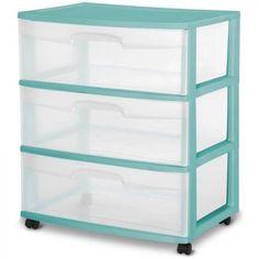 Storage Rolling Cart Plastic Organizer 3 Drawer Box Cabinet Wide Aqua Ocean #Sterilite