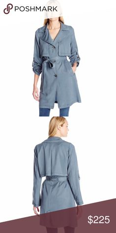 """7 For All Mankind Soft Drape Trench Coat Insanely soft and gorgeous Lightweight trench in Storm Grey. Shell is 100% Lyocell with a soft hand feel. Machine washable. Button front closure with tie belt, 36"""", with roll tab cuffs that can be worn rolled up or let down. 7 For All Mankind Jackets & Coats Trench Coats"""