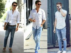 1. 白襯衫+牛仔褲 = 粗獷熟男造型