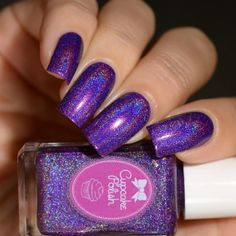Color description: royal purple Finish: super linear holographicNumber of coats: effect: strongTexture: smoothTop Coat: Recommended Staining: None reported Revlon Nail Polish, Purple Nail Polish, Holographic Nail Polish, Nail Polish Art, Nail Polish Designs, Purple Nails, Nail Designs, Nail Polishes, Nail Art