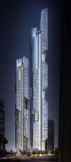 fantastic tower, Dancing Dragons, modern skyscraper, South Korea Architecture
