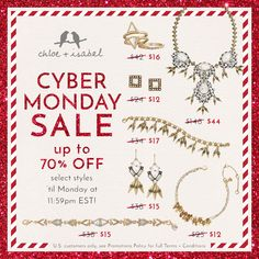 It's a winter wonderland of savings! Celebrate Cyber Monday + shop up to 70% OFF on my #chloeandisabel boutique!