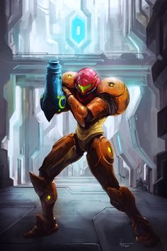 Metroid Samus illustration by Thiago Almeida