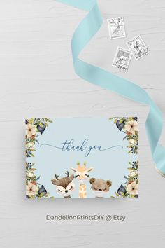 The perfect matching card to our JAY baby shower collection, perfect for a sweet baby boy #babyshower #babyshowerinvite #thankyoucard #babyshowerthankyou