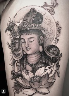 Geisha Tattoo Design, Buddha Tattoos, Japanese Tattoo Designs, Irezumi, Asian Style, Tattoo Inspiration, Tatting, Black And Grey, Oriental