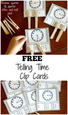 These free telling time clip cards are perfect for working on time up to five minute increments. They also allow your children to practice using phrases such as quarter after, quarter till, and half past.