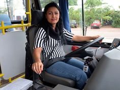 """Adriana da Silva, 24, works as a school bus driver in Ponta Porã, Brazil. """"I think the security situation is improving. We can see the police from our countries are doing the job. I feel safe when I work and walk around town."""" (Marta Escurra for Infosurhoy.com)"""