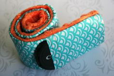 Camera Strap Cover with Lens Cap Pocket - Padded Minky - Teal Graphic with Orange