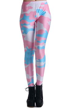Pink Camouflage Print Leggings. Description These Leggings have been crafted from elastic fabric design, featuring pink camouflage pattern design, stretchy waist and all in soft-touch fabric. Fabric Dacron and Spandex. Washing 40 degree machine wash , low iron. #Romwe