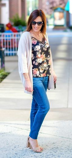 Fall Outfit Inspo: Jo-Lynne Shane wearing floral cami, with a cashmere cocoon cardigan, AG legging ankle jeans, and suede ankle strap sandals.