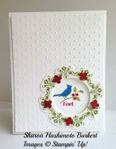 Stampin' Up! ... handmade Christmas card ... like the wreath surrounding an open circle window to the inside of the card ... stamped Daydream Medallion die cut with Floral Frames Framelit and topped with punched red glitter paper flowers ... clean and simple layout ... sweet card ...