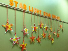 Craft for Start Light, Star Bright nursery rhyme. Give students several strips of paper and they cut them into small squares. Then they clue the squares to the start shape and the teacher cuts it out. Used this for Kindergarten.
