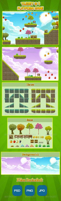 2D Tileset Platform Game   #GraphicRiver         This is a tileset for a 2D plataform game. You can easily create levels for your 2D game. The files are in transparent PNG, PSD and JPG format. The tile files are 128×128 and the full resolution is 1700×1000  	 Have fun!                      Created: 8 December 13                    Graphics Files Included:   Photoshop PSD #Transparent PNG #JPG Image                   High Resolution:   No                   Layered:   No…