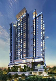New Serviced Residence for Sale at Greenz @ One South, Seri Kembangan Residential Building Design, Architecture Building Design, Home Building Design, Building Facade, Building Structure, Building Exterior, Facade Design, Building A House, Luxury Homes Dream Houses
