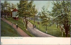 https://flic.kr/p/rngiss | Libby Hill Park, Richmond, Va. |  Description: Libby Hill Park, also called Marshall Park, is at the eastern end of the city, and from its commanding eminence, a magnificent view of the James River, its islands and bridges, is obtained.  Standing in the background, may be seen the impressive Confederate Soldiers and Sailors Monument.  Manufacturer: Tuck & Sons'  Date Postmarked: Not postmarked.  Rights: This item is in the public domain. Acknowledgement of the ...