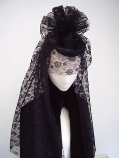 Black widow Gothic Victorian headpiece veiled by Blackpin on Etsy, £45.99
