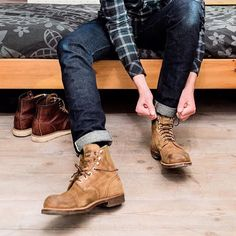 """redwingshoestoreamsterdam: """"Getting ready! A regram of @hansjellema. Hans is stepping into his pair of Red Wing Shoes 8113 Iron Ranger in Hawthorne Muleskinner. He is also a proud owner the 8138 Moc Toe, as you can see. What is your favorite pair of..."""