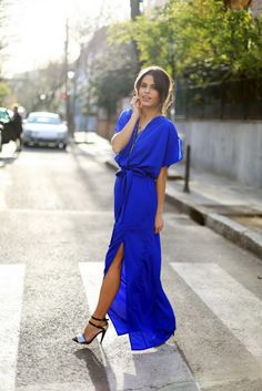 blue maxi dress @roressclothes closet ideas #women fashion outfit #clothing style apparel
