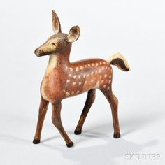 Carved and Painted Figure of a Fawn -