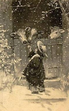 Vintage Christmas Postcard ~ Little girl rolling out Christmas . Vintage Abbildungen, Images Vintage, Vintage Christmas Images, Christmas Scenes, Old Fashioned Christmas, Christmas Past, Victorian Christmas, Vintage Holiday, Country Christmas