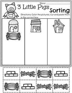 Preschool Sorting Worksheets - 3 Little Pigs Fairy Tale Theme 3 Little Pigs Activities, Fairy Tale Activities, All About Me Activities, Book Activities, Fall Preschool, Preschool Lessons, Preschool Worksheets, Lessons For Kids, Preschool Activities
