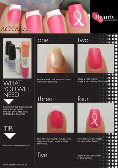 Breast Cancer Awareness nail art designs by Chi Chi #beautysouthafrica