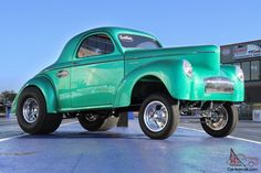 Gasser Style Cars | Willys : CUSTOM 1941 WILLYS GASSER STYLE COUPE IN GREEN METAL FLAKE ...