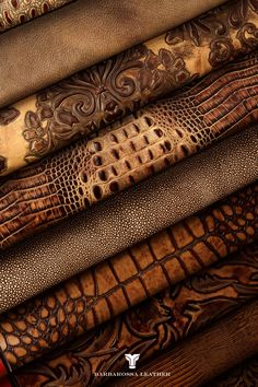 barbarossa leather, embossed and colored leather