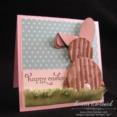 Easter bunny punch art using cardboard!  Great way to reuse those Stampin' Up! boxes.