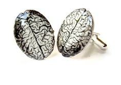 Brain Cuff Links  Cufflinks Anatomical Anatomy Anatomically Correct Black and White Gag Gift Unisex, Nerds, Men. $20.00, via Etsy.
