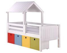 Cama Authentic com casinha e 4 gavetas multifuncionais. Essa cama está na altura MULTI indicada para crianças a partir dos 2 anos de idade.  #camacomprotecao #camacomgavetas #camacomcabana #caminhainfantil #camainfantil #quartoinfantil #camabaixa