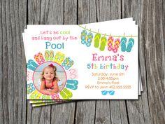 Custom Flip Flop Pool Beach Party Birthday Bridal Baby Shower Invitation Card  - You Print. $12.00, via Etsy.  Atimeandplacedesign