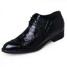 Black crocodile grain split toe taller oxfords 6.5cm / 2.56inch elevated formal dress shoes