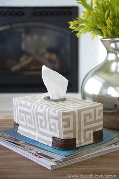 DIY Fabric Tissue Box Cover...with Grommet Opening. No more unsightly tissue box patterns, rejoice!