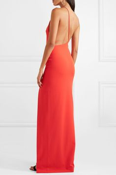 Solace London - Petch one-shoulder stretch-crepe gown Pink Formal Dresses, Gala Dresses, Sexy Dresses, Vestidos Color Coral, Fiesta Outfit, Red Gowns, Pageant Gowns, Mermaid Dresses, Crepe Dress