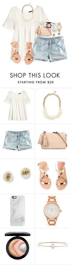 """la la love "" by sydneylawsonn ❤ liked on Polyvore featuring H&M, J.Crew, Tory Burch, Ancient Greek Sandals, Casetify, Kate Spade, MAC Cosmetics, Melissa Joy Manning and Brooks Brothers"