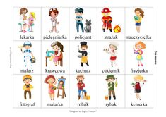 BLOG EDUKACYJNY DLA DZIECI: Zawody Learn Polish, Polish Words, Polish Language, Exercise For Kids, Working With Children, Asd, Baby Love, Kindergarten, Clip Art