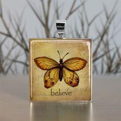 Believe Butterfly Glass Tile Pendant Necklace