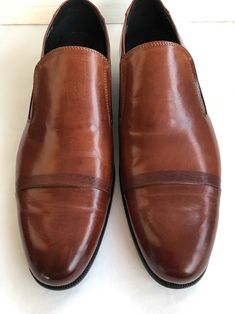 Kenneth Cole Fire Chief Size 11 Leather Mens Brown Casual Dress Loafers  Shoes 1b14186f6b1