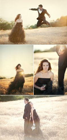 formal wear engagement pics. -This is brilliant! especially if the wedding will be more casual.